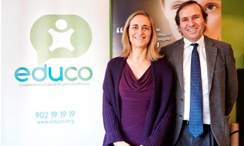 Marimar Laveda, Directora General de Qatar Airways para la Península Ibérica, Grecia y Chipre junto a J.Mª Faura, Director General de Educo