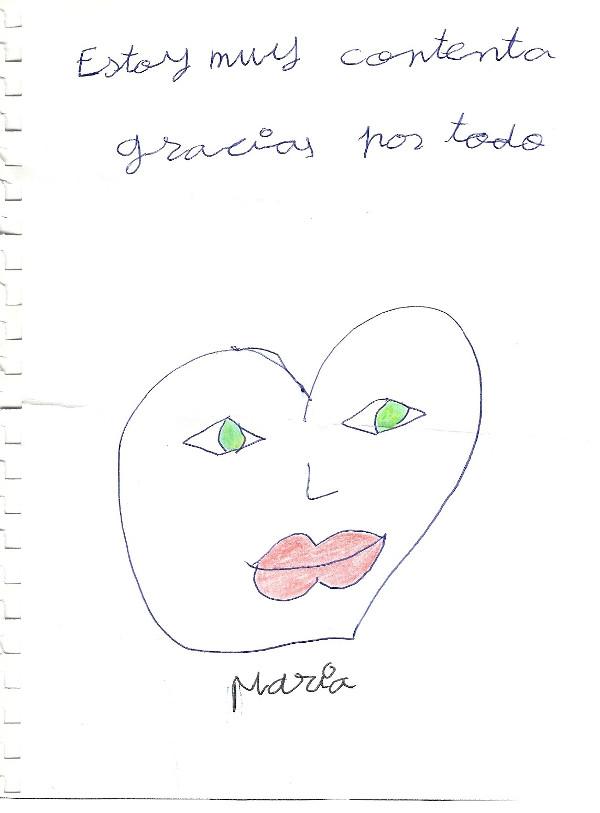 Este es el bonito dibujo que María nos dedicó