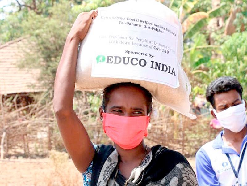 Coronavirus: 4.500 familias en India reciben alimentos y productos de higiene
