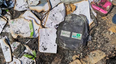 mochilas de colegio quemadas, Cox Bazar