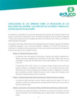 """Conclusiones de las jornadas sobre la devolución de los resultados del informe: """"Los derechos de los niños y niñas en el sistema educativo de España"""""""
