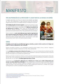 """El manifiesto """"Por una promoción de la protección y el buen trato de la infancia en España"""""""